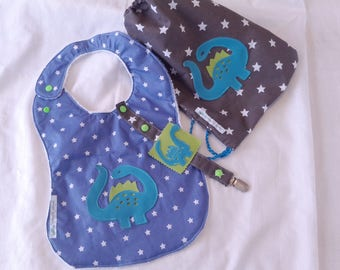 Bib size large, snack bag and the dinosaur theme pacifier