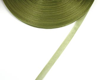 5 meters of 10 mm Green KHAKI colored organza Ribbon