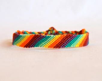 Bracelet friendship bracelet multicolor fancy woven hippie Brasilda Colors rainbow colored stripes