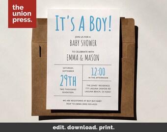 Baby Boy Shower Invitation - Baby Shower Invitation Boy Printable - Baby Boy Invites - It's a Boy