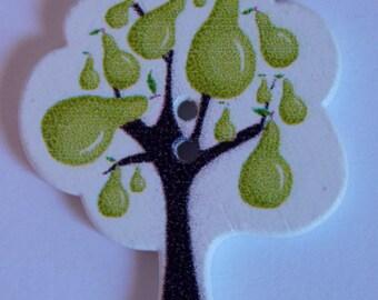 Button tree PEAR fruit PEAR green scrapbooking