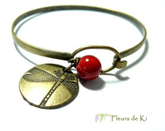 Designer jewelry: Red Dragonfly Bracelet