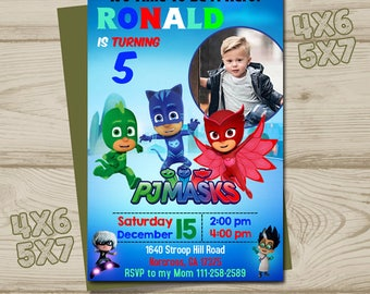 Pj Mask birthday, PJ Masks invites, Pj Mask invitation, Pj Masks invites, Pj Mask party, Pj Mask printable, Pj Masks invites,