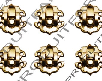 Set of 6 clasps Laitone latch lock box treasure chest box 30 by 30 mm screw included