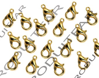 Set of 50 clasps color gold pendant necklace jewelry 12 mm lobster claws