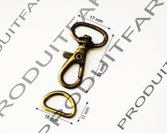 10 lobster swivel clasps + ring handle bag hook Bronze