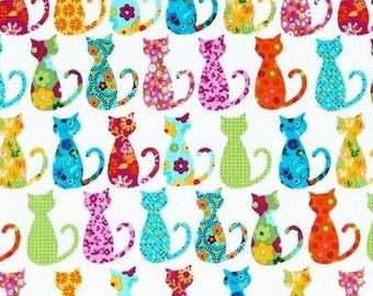 Patchwork calico Miller cats fabric
