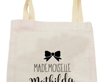 "PERSONALIZED TOTE BAG IN LINEN ""MADEMOISELLE"""