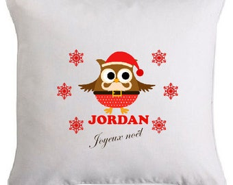 Christmas owl pillow personalized with name 1