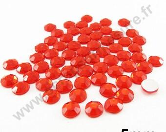 Paste rhinestone round - red - 5mm - x 65pcs