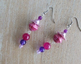 "Pearl paper and natural stones ""Funny"" earrings"