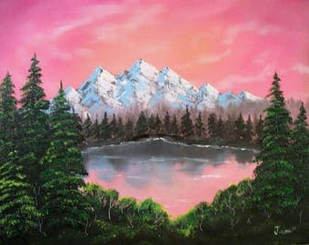 Blush Mountain Lake - Original Landscape, Oil Painting 16' x 20""