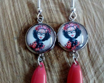 Calavera and sequin shuttle coral dangle earring
