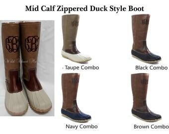Mid Calf Zippered Duck Boots
