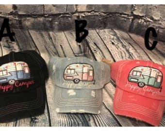 Happy Camper hat. Camping hat. Trucker hat. Baseball hat. Distressed ball cap.