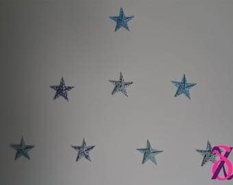 Set of 8 stars origami wall mounting