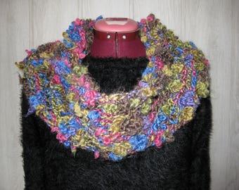 woman in fancy multicolored wool snood