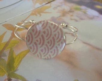 Pink Japanese paper adjustable Bangle Bracelet