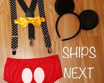 SALE********Mickey Mouse Inspired Birthday Smash Cake Outfit with Suspenders and Ears