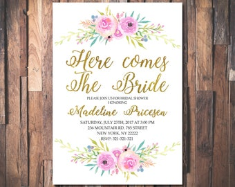 Here Comes The Bride, Bridal Shower Invitation Bride to be Invite Bridal Brunch Invitation Bridal Shower Printable Floral Bridal Invite 1079
