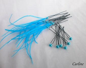 Set 12 bun hair bridal hair pins turquoise feathers