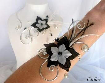 Leonie - Set 2 PCs bridal silk flower black and white
