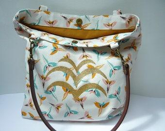 Tan double birds birds pattern printed tote bag