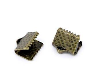 100 8mm Bronze tie clip tip DrawString M00406 Ribbon claws