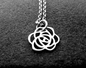 Tiny Rose Necklace - 925 Sterling Silver Rose Charm - Rose Pendant -  Rose Flower Necklace - Rose Jewelry Silver