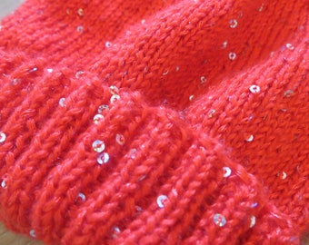 Child Hat 8/10 years, red color with glitter.