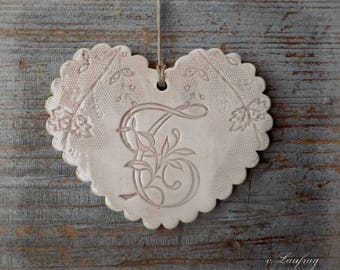 Fantasy style shabby (size M), edges, wavy, ceramic heart lace and letter ' you