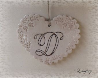 Heart shabby chic personalized print with lace beige finish patina, letter ' from