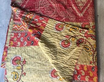 Vintage Kantha Quilt Rose