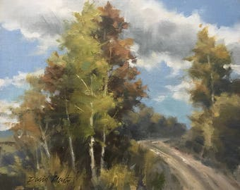 Country Road, Back Country Dirt Road, Original Oil on Canvas 8x10