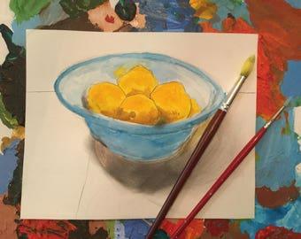 Five Lemons in a Blue Bowl-- 8 X 10