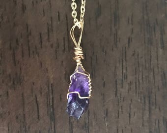 Wire Wrapped Amethyst Crystal Pendant