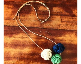 Nautical Knot Necklace - Cream, Green and Navy