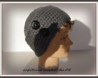 grey wool/hat/Beanie Hat woman/toque/Hat-women/handmade crochet, single model