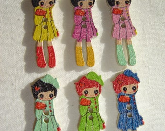 6 LITTLE GIRL IN COAT BUTTONS / / 11 X 31 MM / / SET 1
