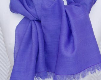 "Scarf, shawl, scarf knitted ""Amethyst"" Purple ""painted and hand rolled hem"""