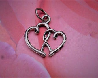 charm double hearts charm with ring LAP 143