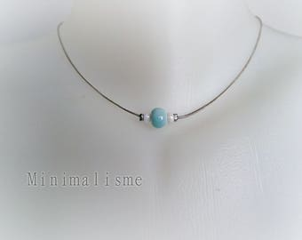 Necklace Pearl pastel Blue ceramic and beads Ref: M031