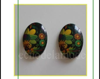 bright tropical flowers 2 cabochon oval glass 25 mm X 18 mm ref5