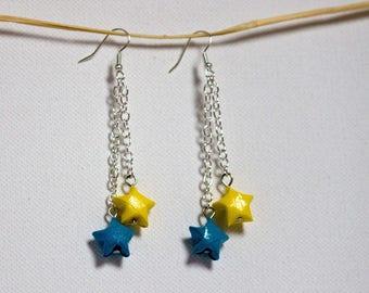 Earrings dangling pair of origami stars