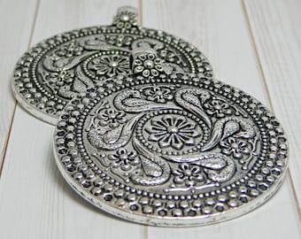 Silver pendant etsy bohemian pendant medallion pendant silver pendants large pendants boho pendants round aloadofball Gallery