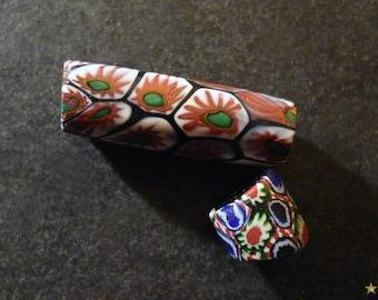 Beads vintage African millefiori Murano glass