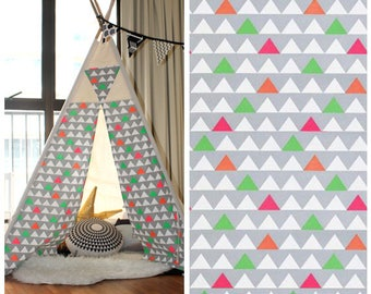 READY TO SHIP - Triangles Natural Canvas Teepee, Children Teepee, Play Tent, Play House, Nursery, Tent, Kids Teepee, Indoor, tipi, Wigwam