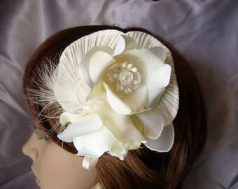 pink ivory hair bridal headpiece