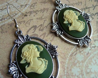 Vintage style earrings cameo woman hat, Khaki, retro, mount silver Bobby clip/hook without nickel/Silver 925 + earrings