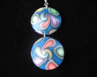 Low price: double blue/multicolor polymer clay spiral pendant